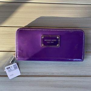 NWT Michael Kors purple patent leather wallet